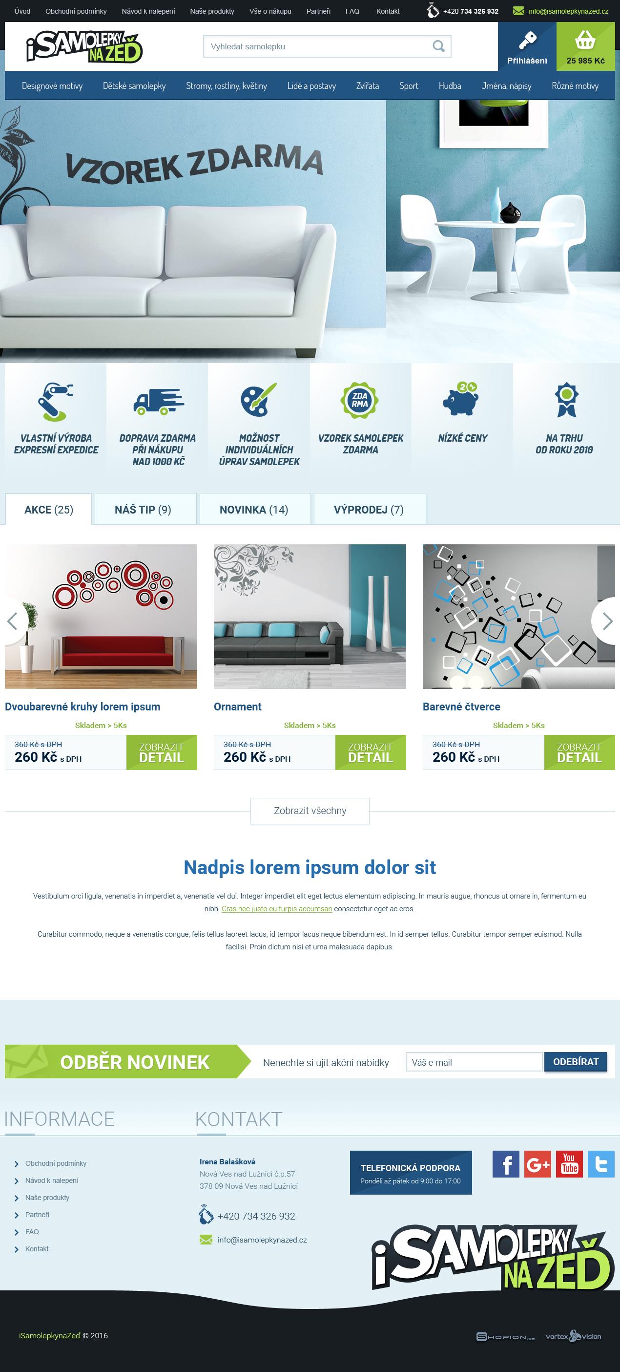 Internetový obchod .isamolepkynazed.cz