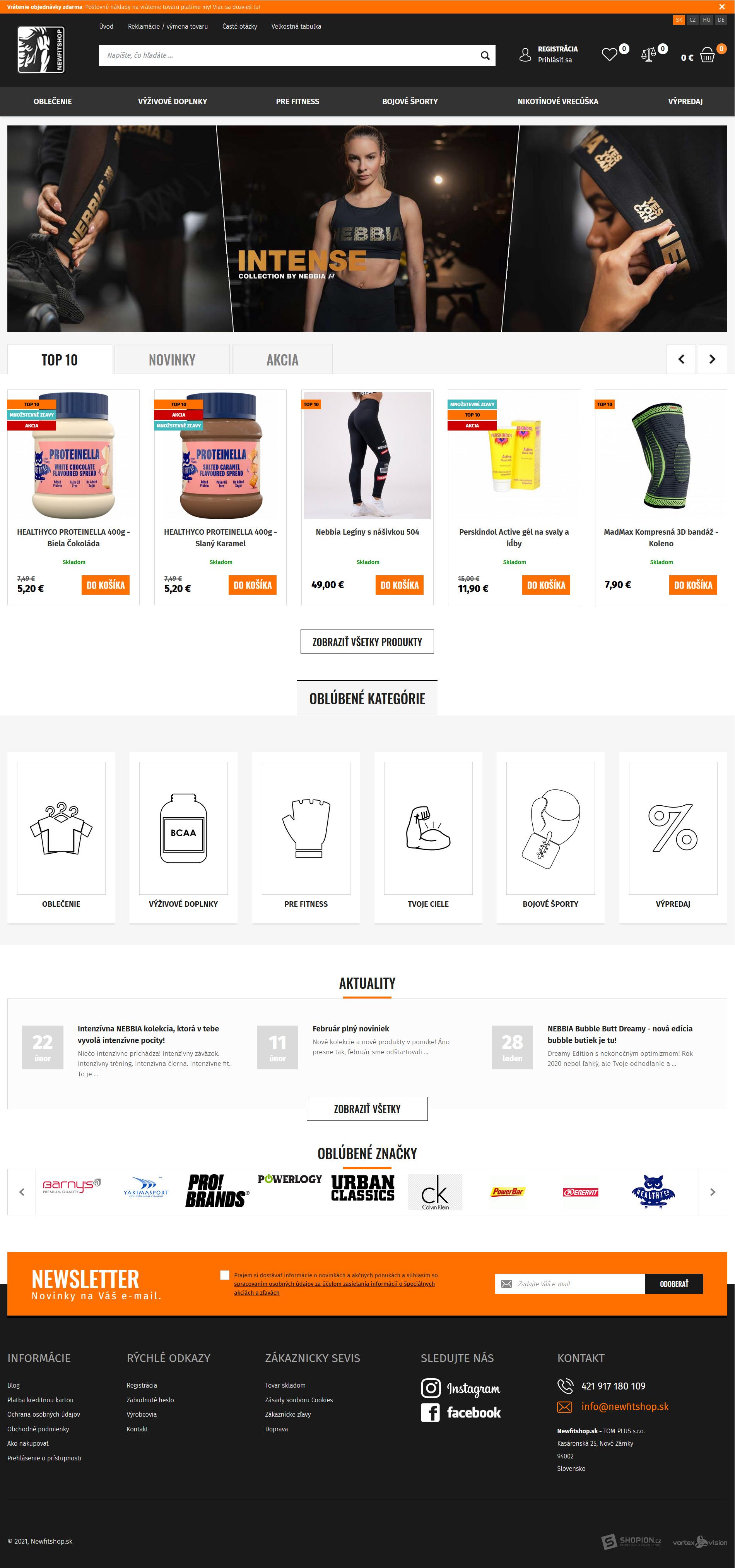Internetový obchod .newfitshop.sk